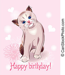 Happy birthday greeting card with little kitten on the pink...