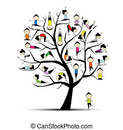 yoga, praktik, träd, begrepp, din, design