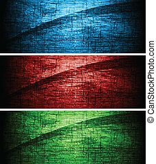 Colourful textural banners - Set of dark grunge banners. Eps...