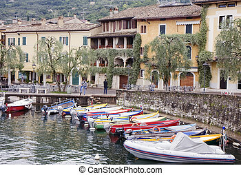 Harbor on a lake - Small harbor in Brenzone on the Garda...