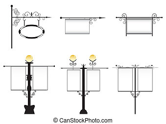 hierro forjado, calle, lámparas