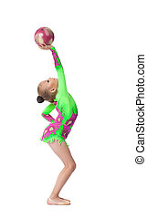 Young girl doing exercise with ball isolated