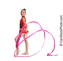 Young teenager girl stand with gymnastics ribbon - Young...