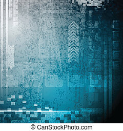 Grunge hi-tech backdrop - Dark blue tech background. Vector...