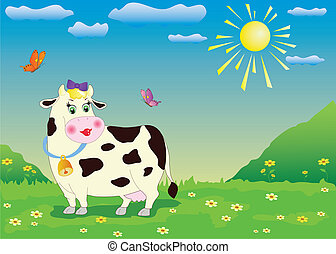 cartoon cow - Illustration of cartoon cow in the green...