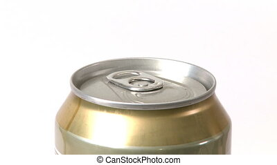 Opening a Beer Can - Man opening a beer can. White...