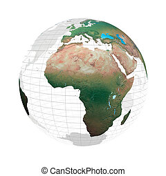 Transparent globe with continents and grid system against a...
