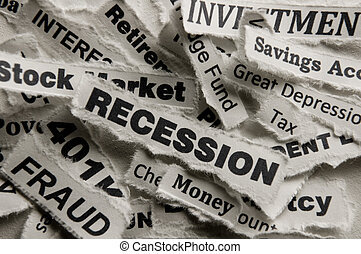 Recession - Concept of recession in words.