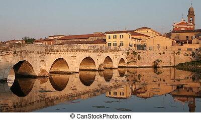 Tiberius' Bridge at sunset, Rimini