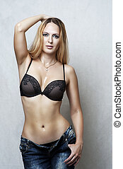 Fashion portrait of sexy underwear model - Fashion portrait...