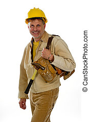 Male construction worker in a hardhat with his tools - A...