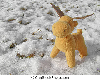 Deer - Toy Christmas deer moose in real snow
