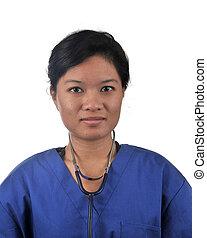 médico, Asiático, femininas, doutor