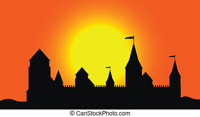 Silhouette of the castle at sunset - Black silhouette of the...