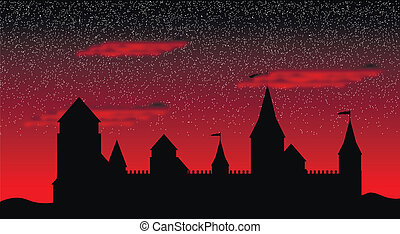 Silhouette of the castle after sunset - Black silhouette of...
