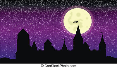 Silhouette of the castle at night - Black silhouette of the...
