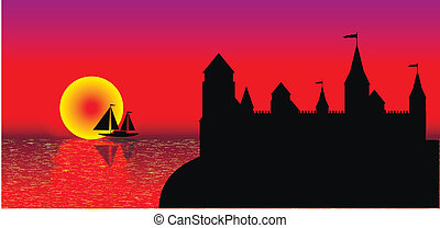 View of the old fort on the beach at sunset - vector