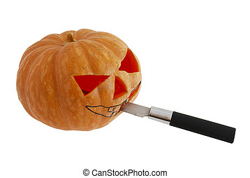 Halloween jack o lantern carving pumpkin with knife -...