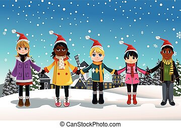 Christmas children - A vector illustration of multi-ethnic...