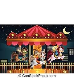 Children in amusement park - A vector illustration of...