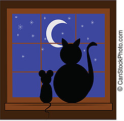 best friends - cat and best friend mouse sitting in window...