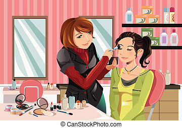 Makeup artist at work - A vector illustration of a makeup...