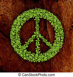green peace symbol on stone background - green plant peace...