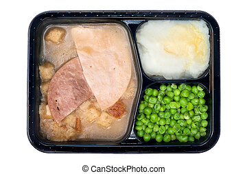 Ham and turkey TV dinner - A TV dinner consisting of turkey,...