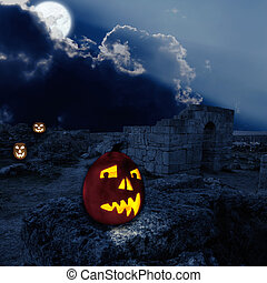 Ancient ruins in the night with halloween pumpkins