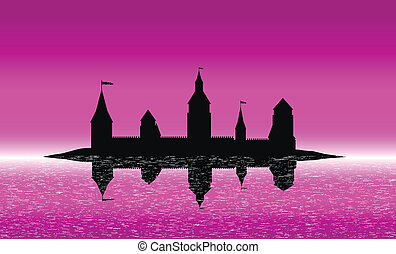 Silhouette of the castle on the island