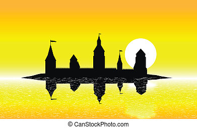 Silhouette of the castle on the island at sunset - Black...