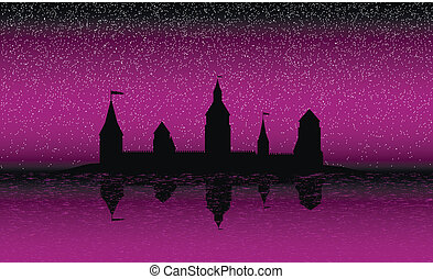 Silhouette of the castle on the island at night - Black...