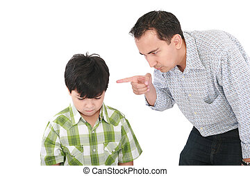 Un, padre, amenazador, el suyo, poco, niño, dedo