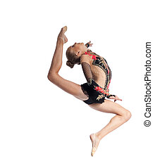 Young girl jump in gymnastics dance