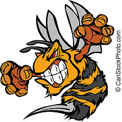 Graphic Vector Image of a Wasp or Y - Bee or Hornet Fighting...