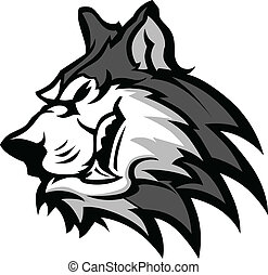 Husky Mascot Vector Graphic - Husky Dog Head Graphic Team...