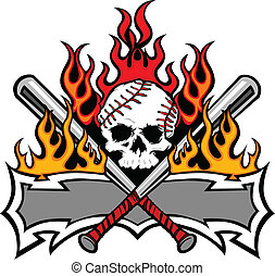Softball Baseball Skull and Bats Fl - Flaming Baseball Bats...