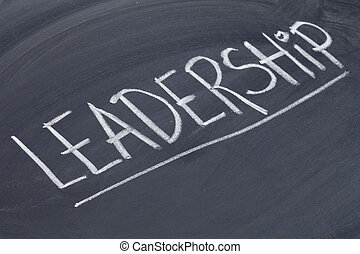 leadership word on blackboard