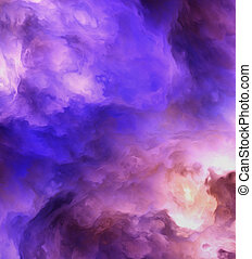Abstract Genesis Clouds Painting - Backlit surreal, stormy...