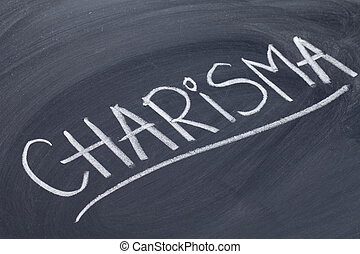 charisma word on blackboard - charisma word in white chalk...
