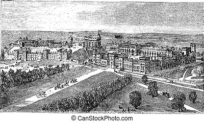 Windsor Castle in Windsor Berkshire England vintage engraving