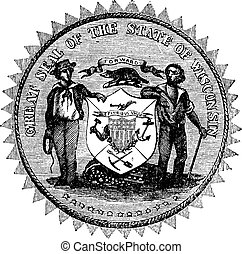 Great Seal of the State of Wisconsin USA vintage engraving -...