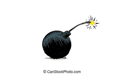 Cartoon Bomb  - A lit fuse sets off a cartoon bomb.