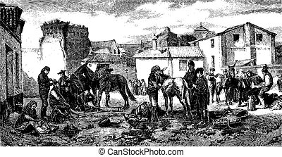 The shearers Granada, paint Worms. - Drawing J. Lavee. -...