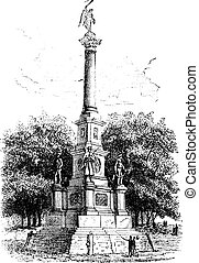 Soldiers' Monument, Worcester, Massachusetts, USA, during the 1890s, vintage engraving. Old engraved illustration of Soldiers' Monument.