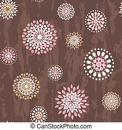 Seamless pattern with round flowers