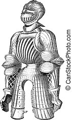 Maximilian armor vintage engraving - Old engraved...