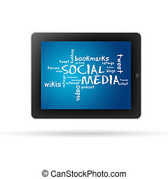 Social Media Tablet PC with words and text on white...