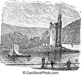 Mouse Tower in Rhine Bingen am Rhein Germany vintage engraving