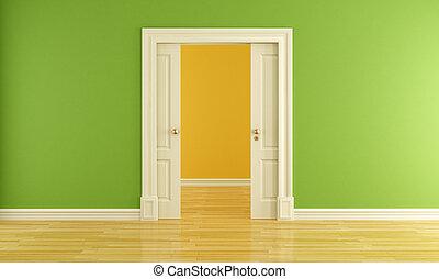 Empty room with sliding door - Green interior with open...
